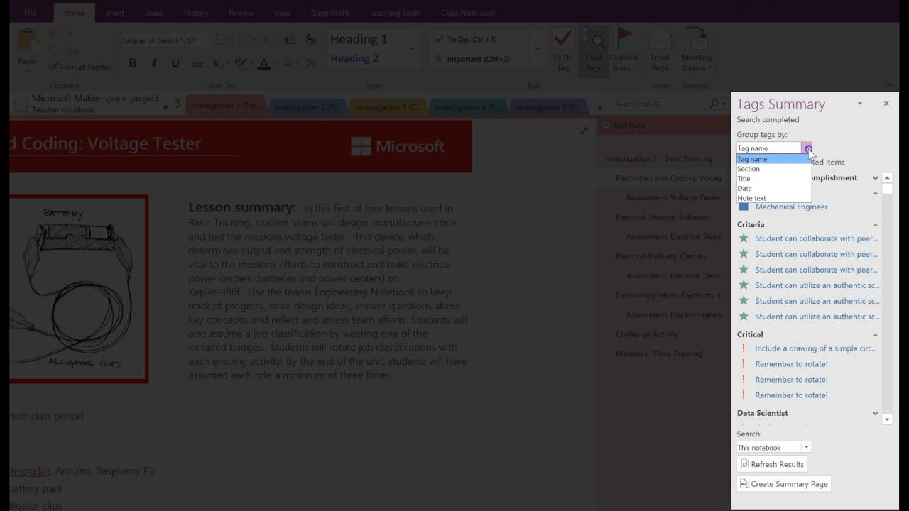 How to search for tags in OneNote