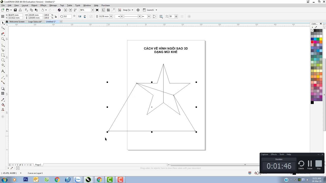 Cách vẽ ngôi sao 5 cánh 3D hình múi khế