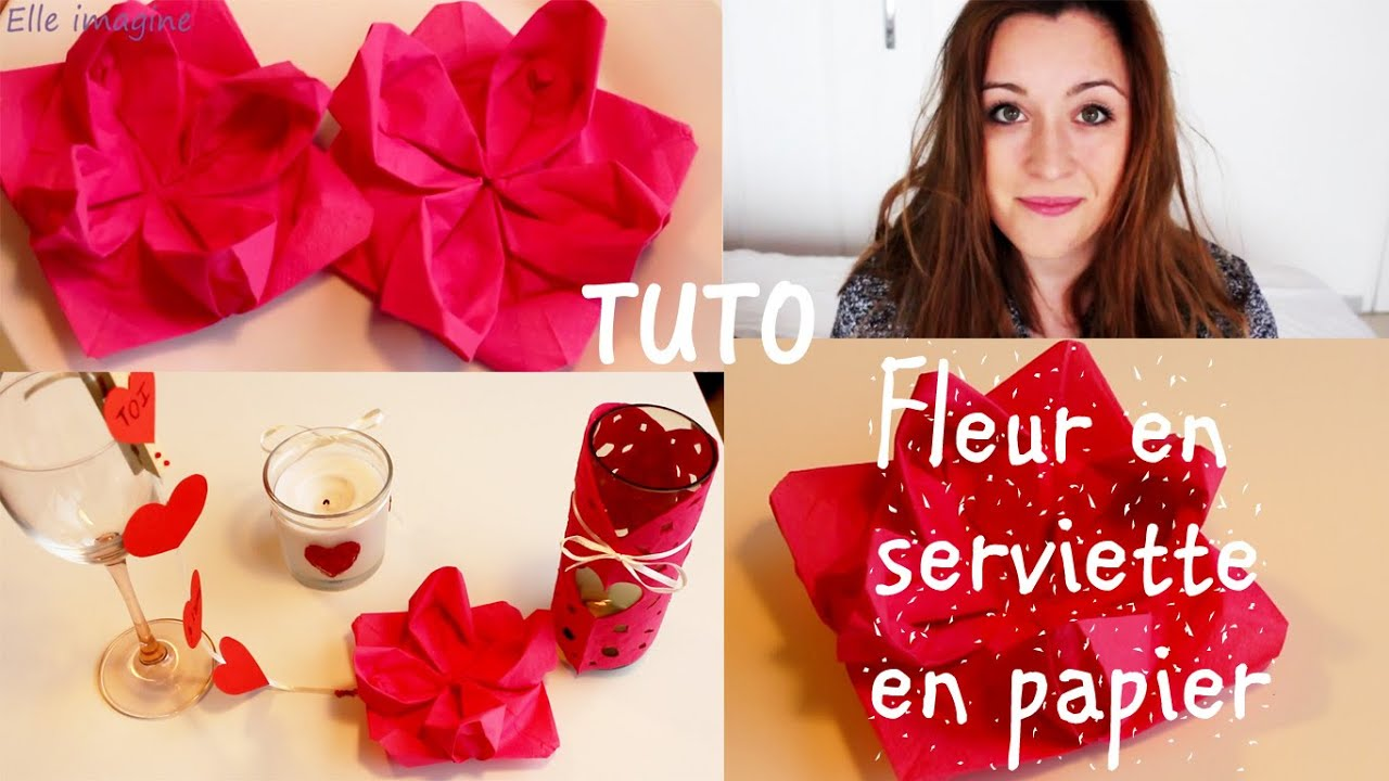 diy fleur serviette en papier d co custo saint valentin youtube. Black Bedroom Furniture Sets. Home Design Ideas