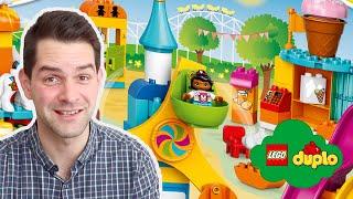 lEGO DUPLO Big Fair Set Review w/ Ferris Wheel, Carousel, Slides, Train, Toilets & STEM Games Ideas