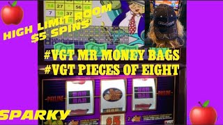 #VGT MR MONEY BAGS & PIECES OF EIGHT & SPARKY HIGH LIMIT KICKAPOO LUCKY EAGLE CASINO