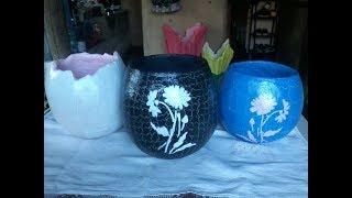 Vaso feito com bexiga e cimento