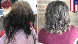 Hair makeover  Depressed teen gets stunning hair makeover from helpful hairdresser   TomoNews