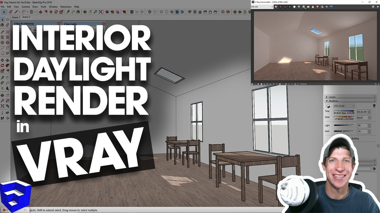Vray Interior Lighting Tutorial Rendering With Daylight In Sketchup Youtube