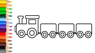 How to Draw Train Learn Drawing Toy Train Step by Step for Kids