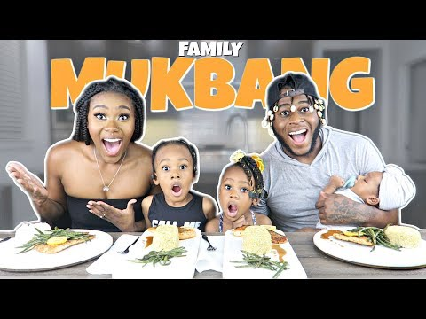 OUR FIRST SEAFOOD MUKBANG AS A FAMILY OF 5 (How to Cook Yummy Salmon) | Skillet Recipe |먹방| 2019|