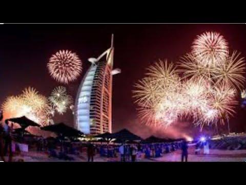 DUBAI BURJ AL ARAB FIREWORKS | with Heart shape fireworks