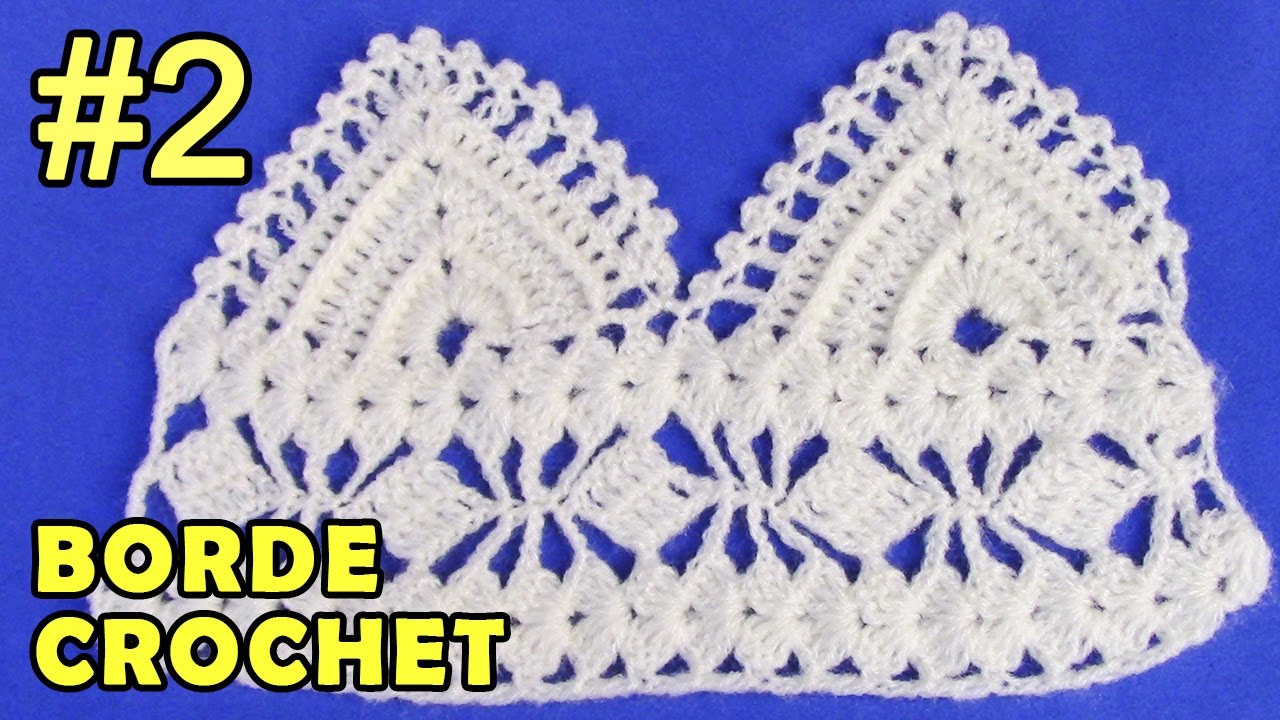 Borde #2 tejido a crochet, fácil de hacer en punto triángulos en ...