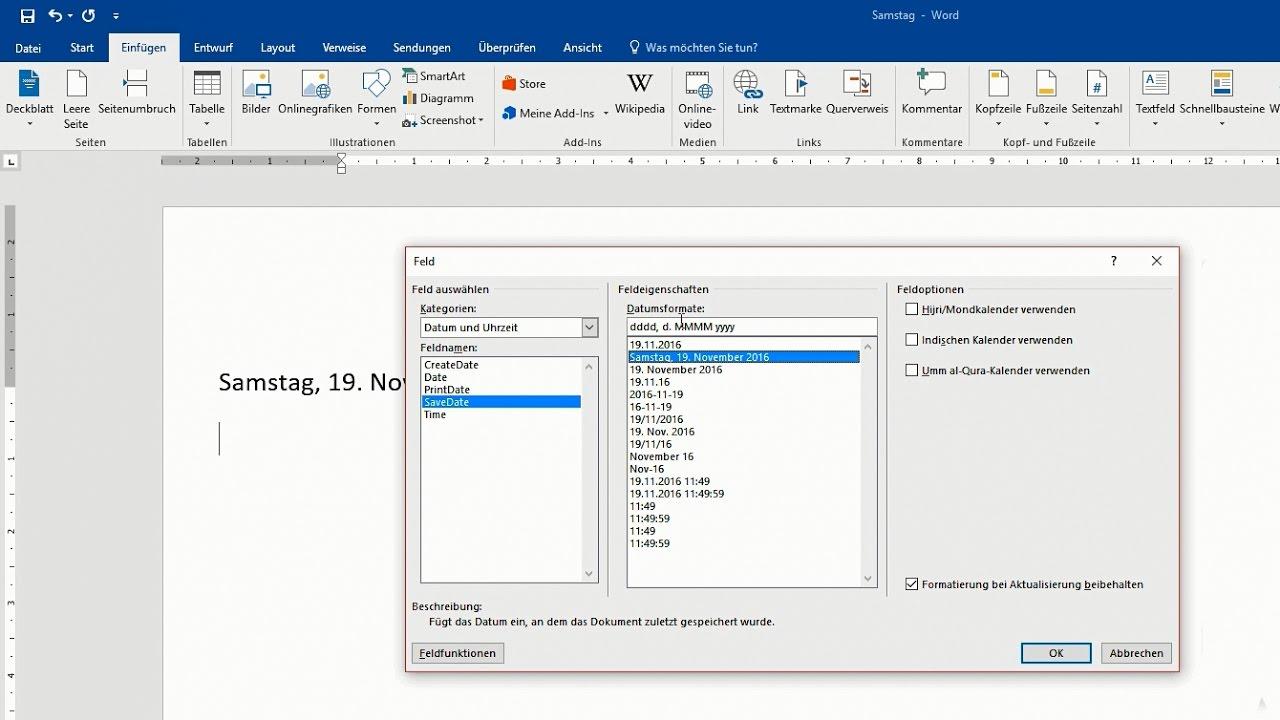 Word Datum Und Uhrzeit Automatisch Aktualisieren Formatieren