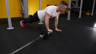 Fixed Barbell single arm role out full extension