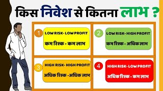निवेश के चार प्रकार | निवेश के रिस्क और निवेश पर लाभ  [ Four Type of Investment Hindi ]