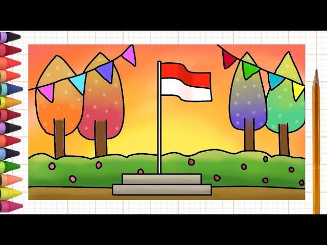 Menggambar Dan Mewarnai Bendera Indonesia Tema Hari Kemerdekaan Speed Paint Youtube