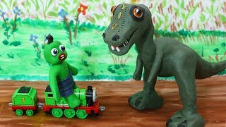 Green Baby Scary or Funny! -in- T-REX TOYS PICKUP - Stop Motion Cartoons For Kids