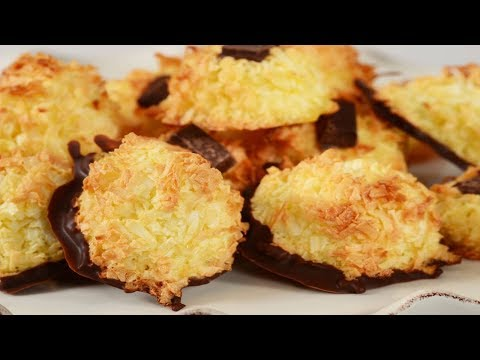 Chocolate Dipped Coconut Macaroons Recipe Demonstration Joyofbaking.com