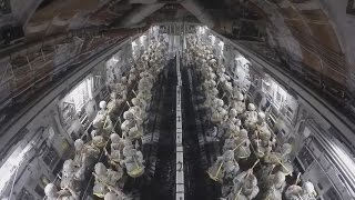 US Army Paratroopers Static Line Jump From C-17!