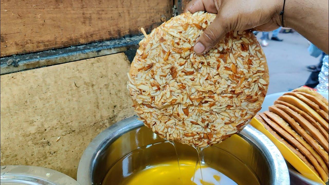 Almond Pista Sheermal Bread Dipped in Pure Ghee | Indian Street Food