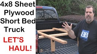Hauling rack for plywood / full sheet goods in a short bed truck and save space!