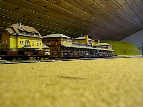 Model train passes Bonn main station
