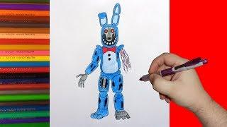How to draw broken Bonnie, FNaF, Как нарисовать сломанного Бонни, ФНаФ