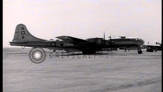 B-29 bombers of United States Army Air Force land at a base in Japanese island Iw...HD Stock Footage