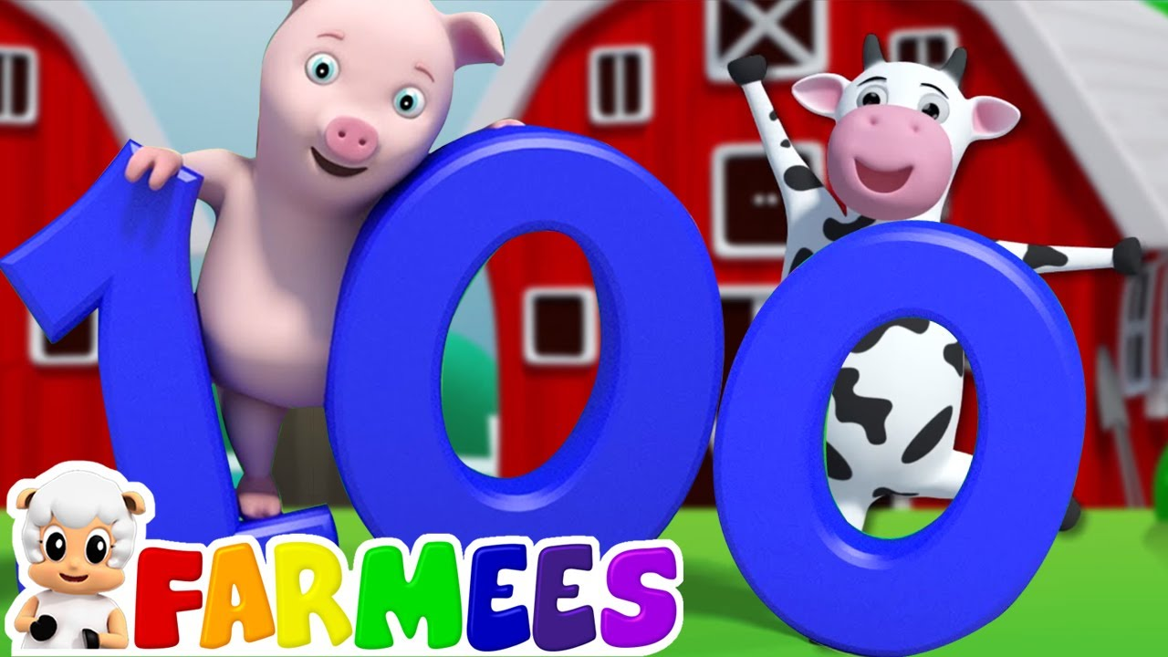 Números 1 a 100 para niños   Videos educativos   Farmees Español   Canciones Infantiles