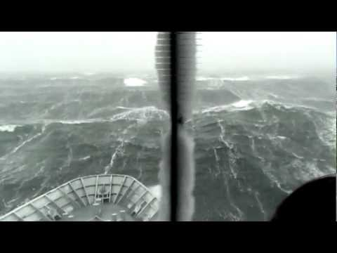 HMNZS Wellington weathers a storm during sea trials in the Southern Ocean