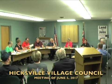 Hicksville Village Council Meeting 6-5-17
