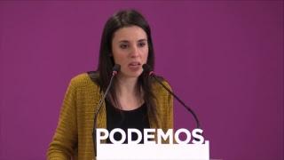 Comparecencia de Irene Montero tras el anuncio de elecciones generales el 28 de abril