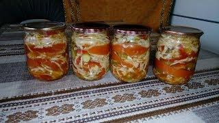 Новинка ! Вкусный Салат на Зиму из Капусты ,Помидор и Огурцов в Маринаде из Кетчупа !