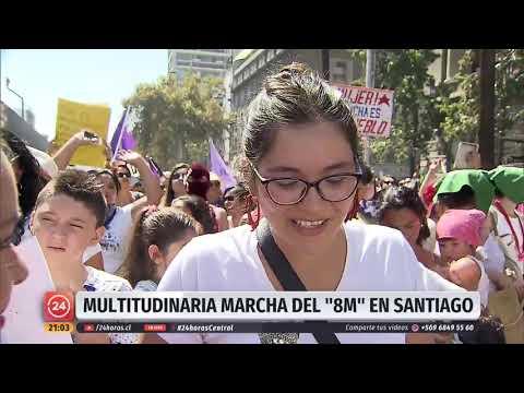 """Masiva Manifestación Del """"8M"""" En Santiago   24 Horas TVN Chile"""