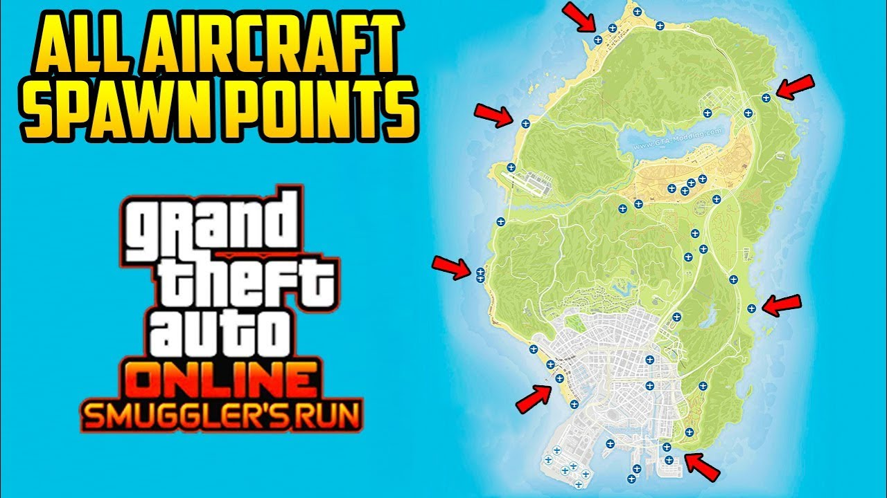 Personal Aircraft Spawn Map Every Location Your Aircraft Will Spawn In Gta Online Youtube