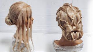 Прически на средние волосы для девочек.Низкий пучок с плетением