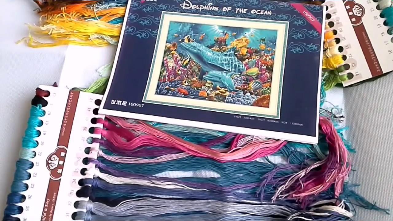 Океан и дельфины схемы вышивки