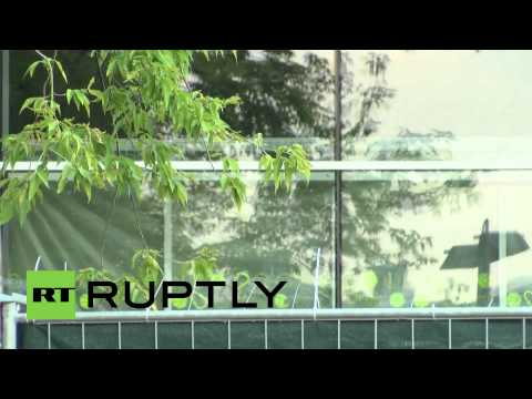 Germany: Refugees arrive at Dresden University of Technology's temporary housing