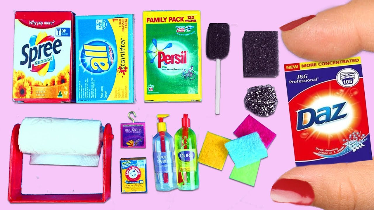 10 DIY Miniature Kitchen Cleaning Supplies - Easy Doll Crafts -  simplekidscrafts