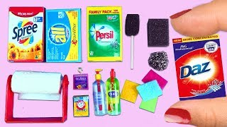 10 DIY Miniature Kitchen Cleaning Supplies  - Easy Doll Crafts
