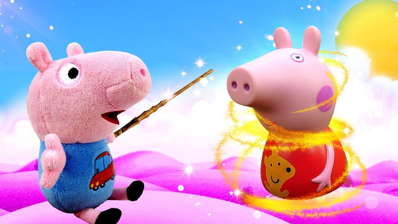 George a trouvé une baguette magique. Vidéo en français avec la famille de Peppa pig.