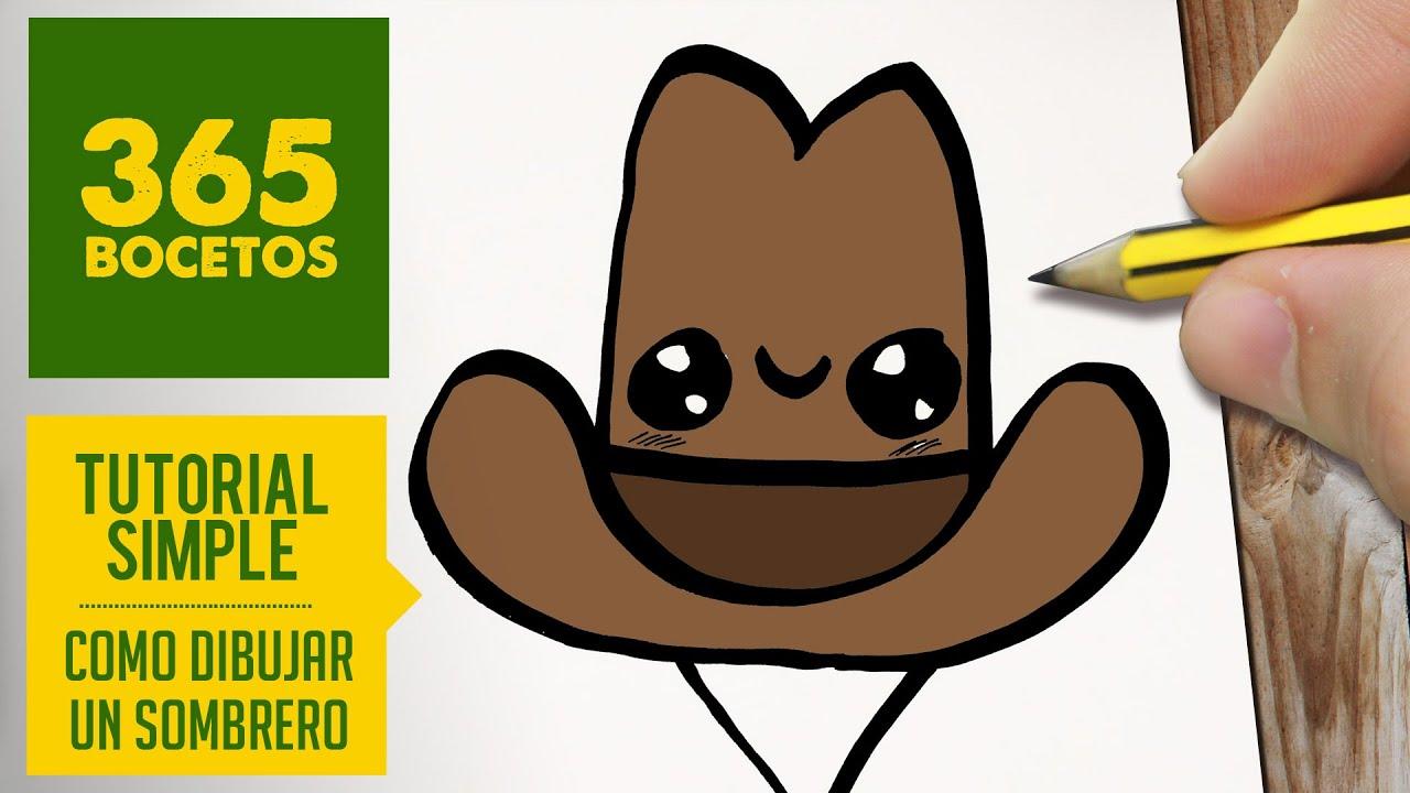 COMO DIBUJAR UN SOMBRERO KAWAII PASO A PASO - Dibujos kawaii faciles - How  to draw a hat 91f295ff4d6
