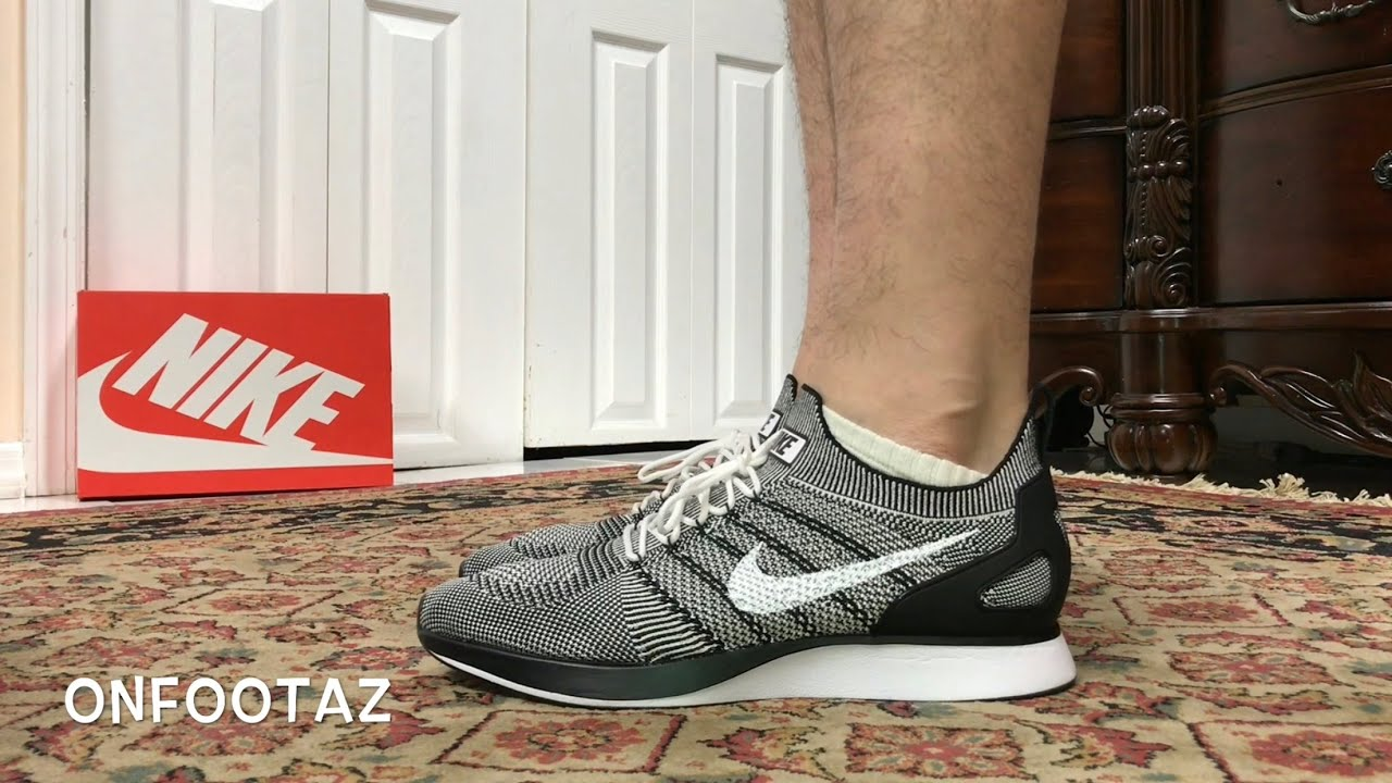 54c60936c12 Nike Air Zoom Mariah Flyknit Racer Black White On Foot - YouTube