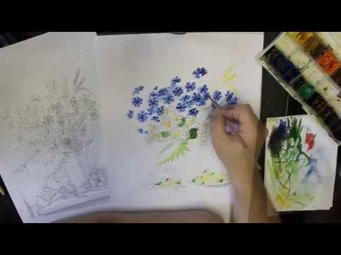 Пишем натюрморт с васильками. От идеи до воплощения.