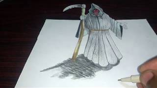 drawing(ghost of hell) how to draw 3D ghost drawing...