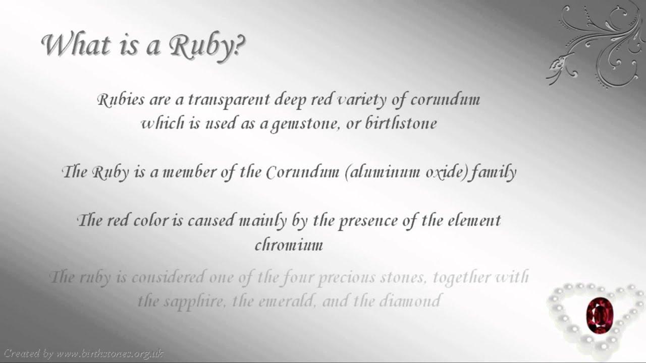 July Birthstone Cancer Ruby YouTube