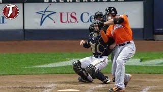 Giancarlo Stanton Hit in the Face with Pitch - Giancarlo Stanton HBP Marlins vs Brewers 9/11/2014
