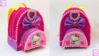 DIY MINI BACKPACK POUCH TUTORIAL/DIY Miniature Hello kitty School Supplies~Backpack/customized purse