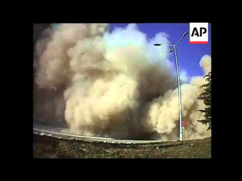 Controlled explosion of old Renault-Dacia building