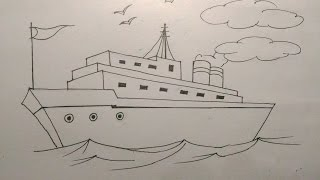 How to draw a ship step by step tutorial for kids