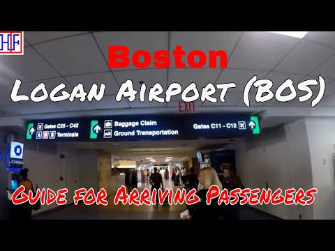 Boston Logan International Airport (BOS) – Arrivals, Ground Transport and Subway train to the City