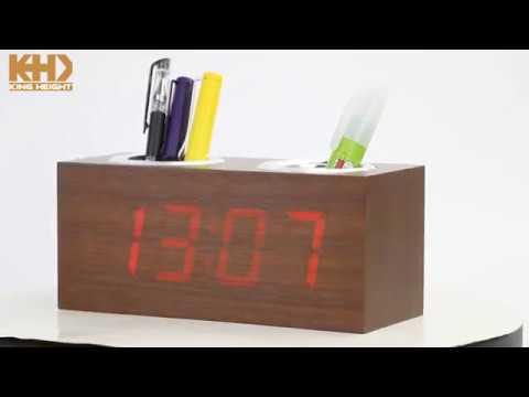KH-0151KING HEIGHT Wood Penholder Alarm  Clock