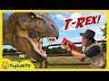 Life-Size GIANT T-Rex Dinosaur Chases Park Ranger Aaron Jurassic Adventure w/ Dino Toys Kids Video