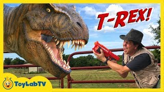 Life-Size GIANT T-Rex Dinosaur Chases Park Ranger Aaron Jurassic Adventure w/ Dino Toys Kids Video